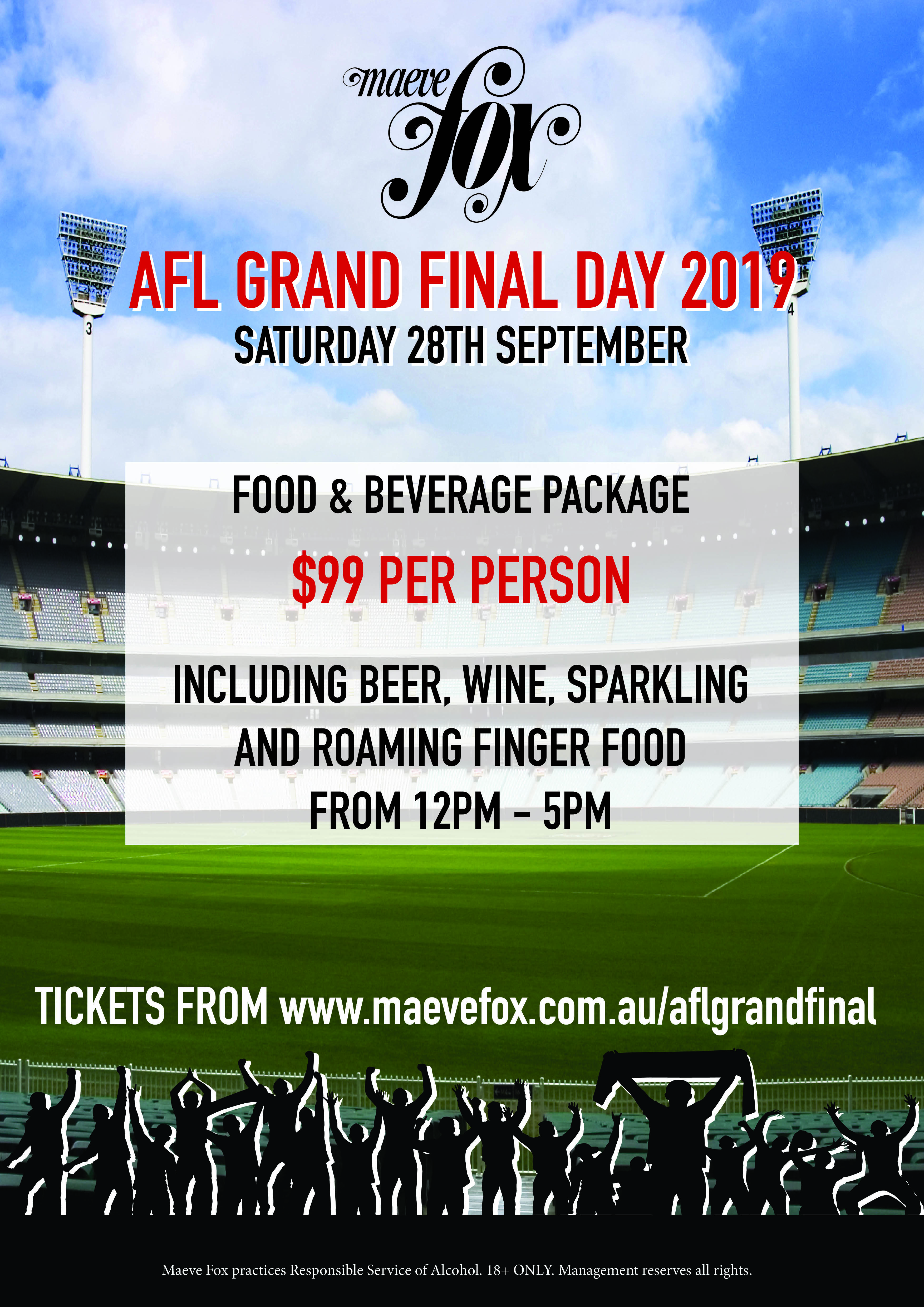 AFL Grand Final Day 2019 Food and beverage package at Maeve Fox